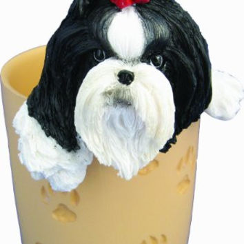 Shih Tzu Pencil Cup Holder with Realistic Hand Painted Shih Tzu Face and Paws Hanging Over Cup, Uniquely Designed Shih Tzu Gifts, A Convenient Organizer for Home or Office, One Of A Kind Pen Holder