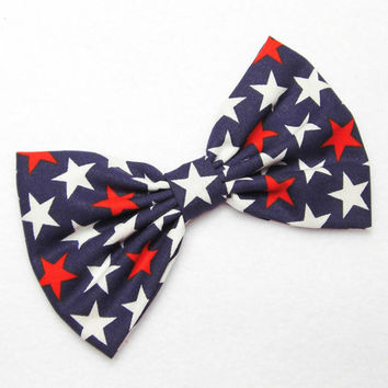 American Flag Bow 4th of July print Bow Flag hair bow red white blue USA bow Patriotic American Flag clip Bow Independence Day Bow fourth of