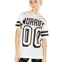 NO WORRIES JERSEY TEE