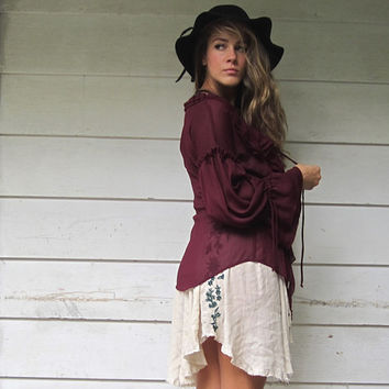 Ruffled Bell Sleeve Bohemian Pirate Peasant Blouse Renaissance Boho Shirt