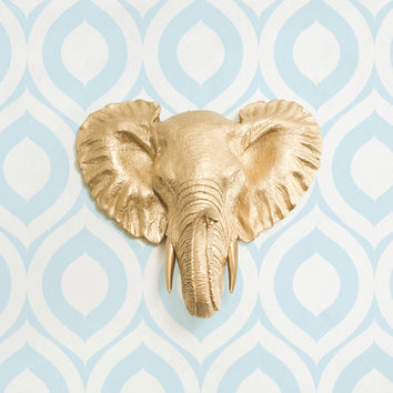 The Savannah Mini in Gold- Faux Elephant Head - Fauxidermy Ceramic Fake Taxidermy Resin Mounted Animal Decor Decorative Plastic Wall Mount