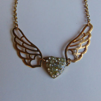 Gold Tone Angel Wings and Heart with Rhinestone Necklace