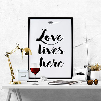 Inspirational quote, quote prints, quote posters, happy art, love lives here, love quotes, wall art, Fashion Wall Art, Fashion Prints