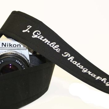 DSLR, SLR Camera Strap - Custom Embroidered Black with genuine leather tabs by Howard Avenue