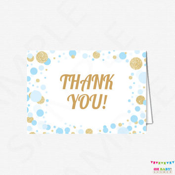 Baby Shower Thank You Cards Boy - Blue and Gold Baby Shower, Printable Baby Shower Thank Yous, Thank You Cards Baby, DOWNLOAD, CB0003-bg