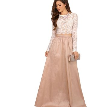 Monica- White Lace And Taffeta Two Piece Prom Dress