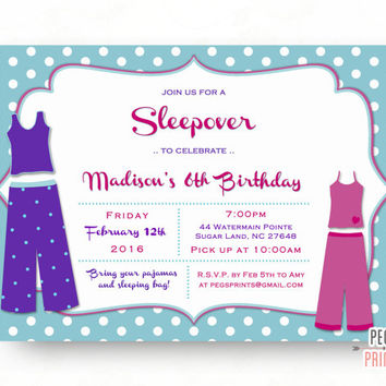 Sleepover Invitation (Printable) Pajama Party Invitation - Polka Dot Birthday Invitation - Sleep Over Invitation - Slumber Party Invitation
