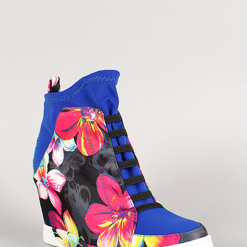 Privileged Floral Print High Top Wedge Sneaker