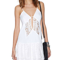 Spaghetti Strap Lace Ruffled Bottom Mini Dress