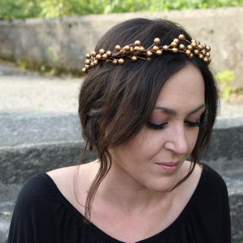 Wedding Flower Crown,Gold Bridal Crown,Bridal Head piece,Boho Wedding,bridal hair crown,gold leaf headpiece,gold bridal tiara,greek headband