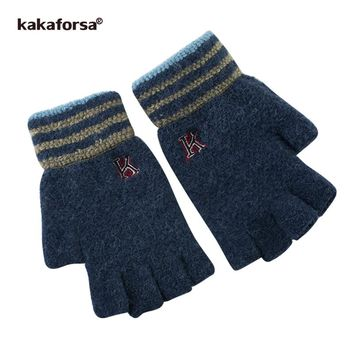 Kakaforsa Men Elastic Warm Fingerless Gloves Jacquard Half Finger Mittens with Striped Opening Winter Soft Thick Knitted Glove