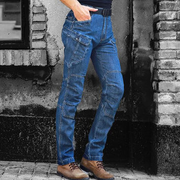 Army Cargo Jeans Pants Mens Casual Urban Military Tactical Blue Denim