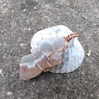 Handmade Blue Lace Agate pendant - crystal pendant - wire wrapped - jewelry...