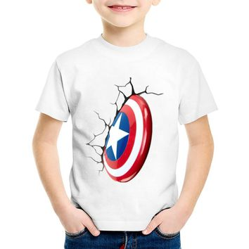 Children Fashion Avengers Captain America Style Shield T shirt Kids Casual Summer Tops Baby Boys/Girls Clothes,HKP370