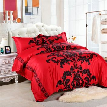 Red/Black/White Duvet Cover King Size Bed Linen China housse de couette Bohemian and Europe Bed Sheet Bedding