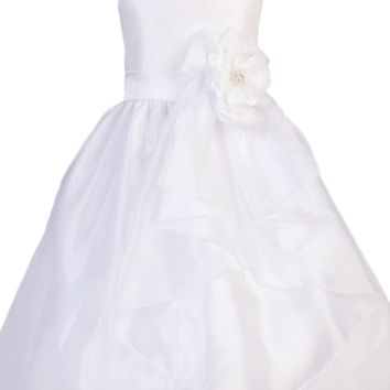 Crystal Organza Girls Communion Dress w. Waterfall Overlay 7-10