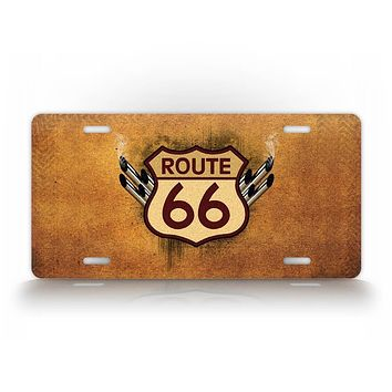Rustic Route 66 Sign With Tailpipes License Plate
