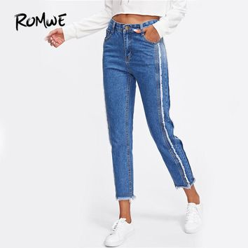 ROMWE  Frayed Trim Mid Waist Tapered Jeans Women Blue Casual Denim Cropped Pants 2017 Autumn Zipper Fly Straight Jeans