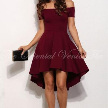 Burgundy High Low Cocktail Dresses 2017 Sexy Mini Short Satin Women Special Occasion Dress Cocktail Party Dress Robe de cocktai