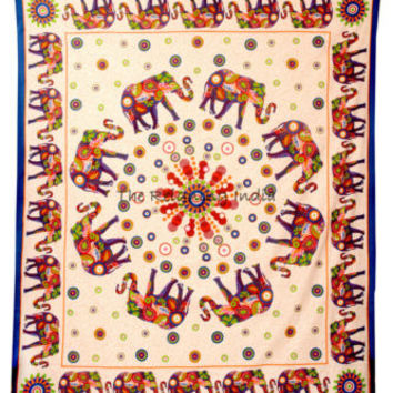 Mandala Tapestry Queen tapestries Wall Hanging Indian Elephant Bedding Art 5491