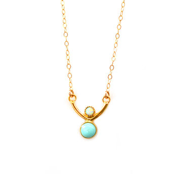 Opal and Turquoise Wishbone Pendant