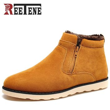 REETENE Winter Men Ankle Boots Casual Leather Footwear Warm Winter Fur Shoes Men Plush Men Boots 2017 New Snow Men Shoes