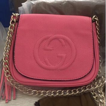 GUCCI spring new female leather shoulder bag small Messenger bag Pink