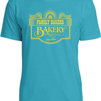 Family Bakery Sign (Yellow) Mens Fine Jersey T-Shirt
