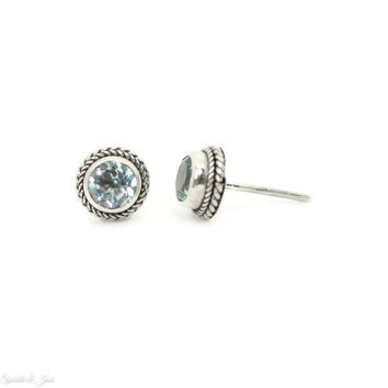9mm Sterling Silver Round Sky Blue Topaz Bali Stud Earrings