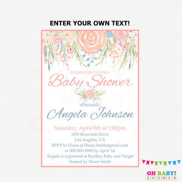 Floral Baby Shower Invitation Printable Girl Flower Baby Shower Shabby Chic Baby Shower Editable Invitation Custom Spring Watercolor SPFL
