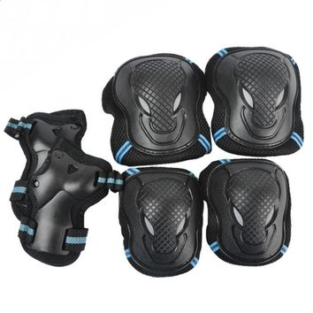 6 Pieces Set Men Women Children Kid Sports Roller Skating Skateboard Skiing Elbow Knee Pads Wrist Protective Guard Gear Pad Gear