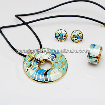 Boutique Jewelry High Quality Rose Gold Plated Artistic Green Stream Design Enamel Jewelry Set