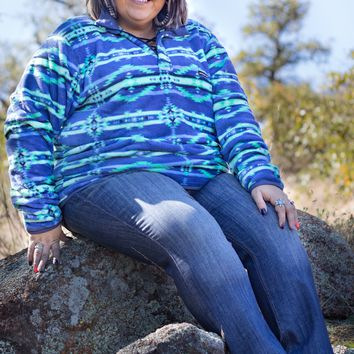 Navy & Mint Tribal Southern Marsh Pullover