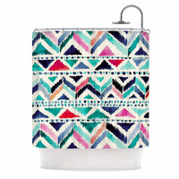 "Crystal Walen ""Celestial Tribal Stripe"" Teal Chevron Shower Curtain"