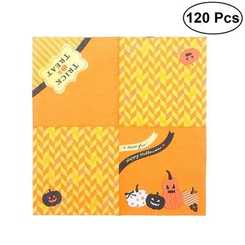 120PCS Pumpkin Pattern Cute Creative Halloween Paper Napkin Tissue Party Decor Party Supplies for Birthday Halloween Gifts Party