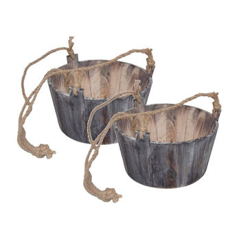 Set of 2 Wooden Hanging Pots with Jute Rope Handles - 11-in