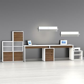 Nexera Liber-T 2 Person Desk with Filing Cabinet - White and Espresso | www.hayneedle.com