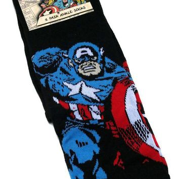 CREYV2S MENS GENTS MARVEL COMICS CAPTAIN AMERICA BLACK SOCKS UK SIZE 6-11 / EUR 39-45