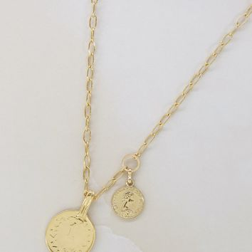 Simplicity Coin & Chain Necklace in Gold