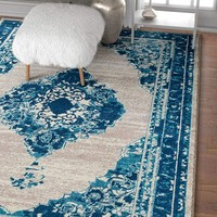 3958 Blue Distressed Medallion Vintage Area Rugs