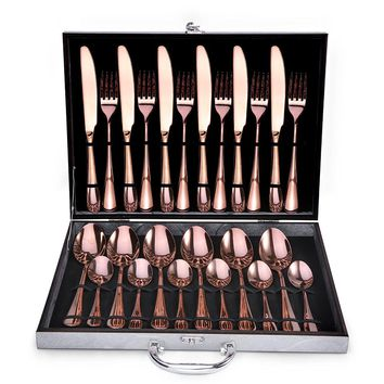 Rose Gold Stainless 24-PC Service For 6 Flatware Party Gift SET