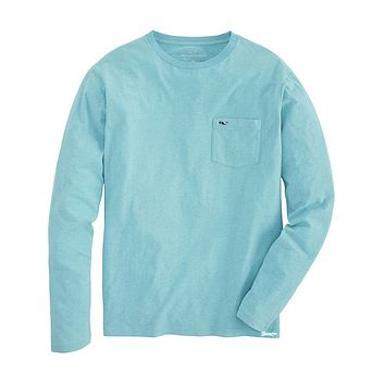 Long Sleeve Overdyed Heathered T-Shirt in Capri Blue by Vineyard Vines