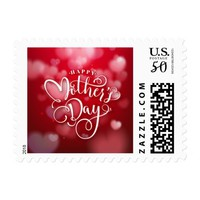 Modern Red White Hearts Happy Mother`s Day Postage