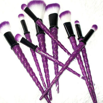 9pc Purple Bling Unicorn Rhinestone Makeup Brush Set