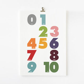 Children Decor Numbers Print in modern nursery art by loopzart