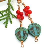 Trilobite Handmade Earrings Turquoise Fossil Red Coral Artisan Beaded