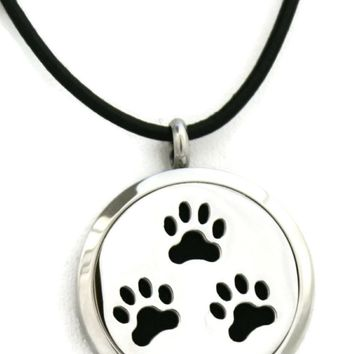 """Paw-some"" Stainless Steel Essential Oil Diffuser Necklace- 30mm- 18-20"" Black Cowhide"