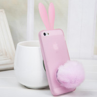 Lovely Bunny Rabbit Ear Tail Silicone Case Skin Cover for Iphone 4/4s/5