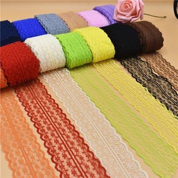10 Yards Beautiful Lace Ribbon Tape 45MM Lace Trim Fabric DIY Embroidered Net Lace For Sewing Decoration 23 Colors lace fabric
