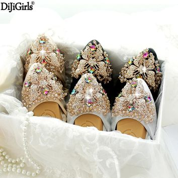 Butterfly Rhinestone Women Flats Casual Leather Ballet Flats Fold Up Gold Shoes